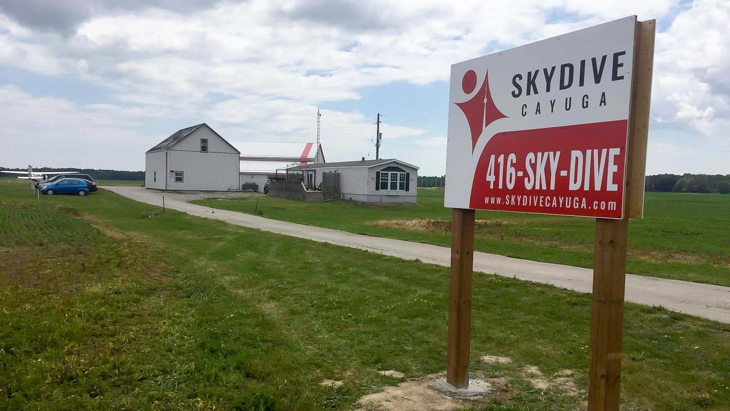 Skydive Cayuga Road Sign